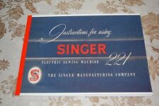 Rare Deluxe-Edition Instruction Manual, Singer Featherweight 221 Sewing Machine.