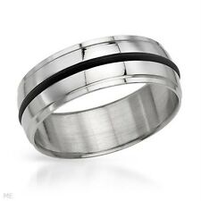SUPERB GENTLEMENS METALLIC WITH BLACK RUBBER STAINLESS STEEL RING SIZE 9 #19