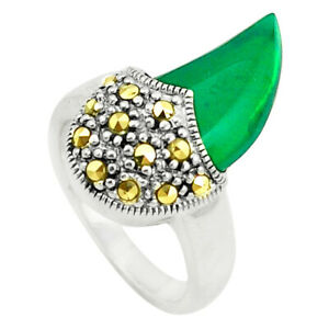 GEMEXI1973 Natural Green Chalcedony Marcasite Ring Jewelry Size 7.5 C17329