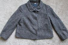 Banana Republic Brown & White Tweed Poly Wool Short Lined Jacket Sz 6 Lovely!