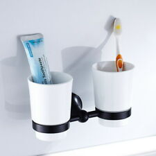 Wall Mounted Cup Double Toothbrush Tumbler Holder Bathroom Cup Holder