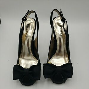 Women's Bebe Shoes High Heels Black Golden Details sz 6.5 Preowned Open Toe S04