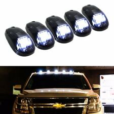 white LED Cab Roof Top Lights Marker Running Lamps Black Smoked 5pc Truck SUV