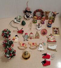Vintage Christmas Ornaments Plastic Snowman Christmas Tree Angel Holly Lot of 30