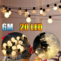 6M LED Outdoor Globe String Lights 20 Bulbs Vintage Fairy Hanging Decor US Plug