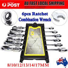 6PCS 8-17 mm Flexible Head Ratchet Gear Spanner Wrench Torque Socket Set AU