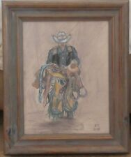 Original Tinted Charcoal Drawing of a Rodeo Cowboy with Saddle