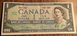 1967 CANADA 1 DOLLAR BANK NOTE 1$