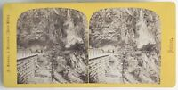 Gorges Del Trient Vernayaz, Suisse Foto A. Braun Stereo Vintage Albumina c1860