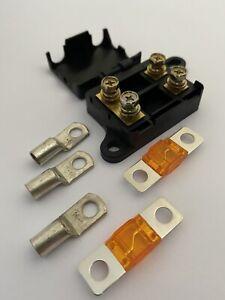 Double Midi Fuse Holder Twin +2x 30A Fuses +3x 16-6 Lugs BCDC Ctek RedArc  6 b&s
