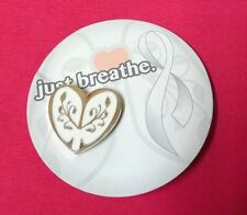 Lung Cancer Awareness Heart Lapel Pin Tac Just Breathe Lungs New