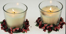 Set Of 2 Red Berry Bow 8cm Christmas Candle Rings Decoration