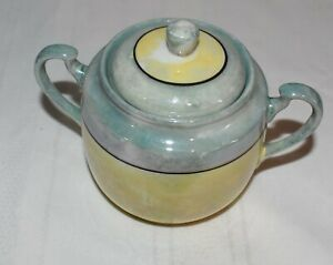 Handpainted Yellow and Blue Sugar Bowl, Made in Japan