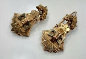Beautiful Vintage Victorian Yellow Gold Filled Detailed Ladies Pierced Earrings