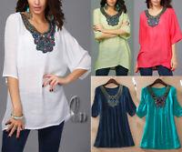 AU SELLER BOHO Embroidery Kaftan Shirt Blouse Top/Beach Kimono Cover Up T030