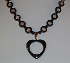 New Hematite Necklace with Heart Pendant & Rose Quartz Beads-Free Shipping!
