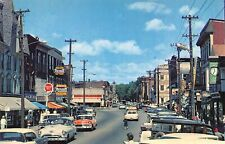 Main Street Cars Laconia New Hampshire 1950s postcard