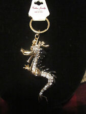FASHION JEWELRY RHINESTONE CRYSTAL BEADS BLACK & WHITE SEAHORSE KEY CHAIN