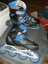 Avigo Inline Skates Roller Blades Adjustable Sizes 1 thru 4 black/blue/silver.