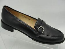 Ros Hommerson 13M Black Leather Slip On Low Heel Loafer Shoe Horsebit Buckle