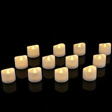 Realistic Bright Flickering Battery Operated Flameless LED Tea Light (12) *NEW*