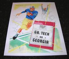 1951 GEORGIA BULLDOGS vs GA TECH YELLOW JACKETS NCAA Football Progam COVER ART