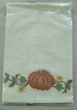 """Pottery Barn Embroidered Pumpkin Cotton Kitchen Towel ~ NWT ~ Large 20"""" x 30"""""""