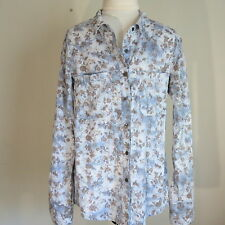 Women's S Button Down Long Sleeve Shirt Blue Floral Print Cotton Blouse brown
