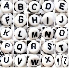 "LOT 1000Pcs White Mixed Letter/ Alphabet Acrylic Beads 7mm(1/4"") US STOCK"