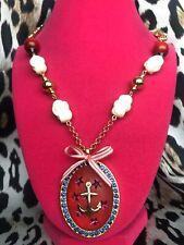 Tarina Tarantino Vintage Hello Sailor Nautical Seahorse Anchor Cameo Necklace