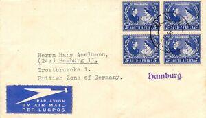 SÜDAFRIKA 1948 Silverwedding 3 P 4Block ERSTFLUG JOHANNESBURG - LONDON - HAMBURG