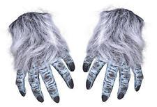 Grey Hairy Hand Gloves Werewolf Monster Halloween Fancy Dress Accessory