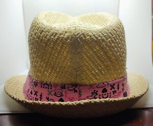 Paul Frank for Target Kids Sun hat. Fedora straw pink ribbon Julius Monkey rain