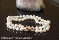 14k Yellow Gold 6mm Akoya Pearl Double Strand Bracelet w/ Diamond Sapphire Clasp