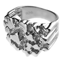 Real 925 Sterling Silver Nugget Ring Heavy Solid Rings For Men Size 7 8 9 10 11