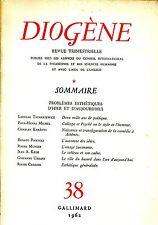 DIOGÈNE N. 38 1962 PROBLÈMES ESTHÉTIQUES D'HIER ET D'AUJOURD'HUI