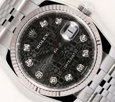 Rolex Datejust 116234 SS New Style-18k Fluted Bezel-Black Jubilee Diamond Dial