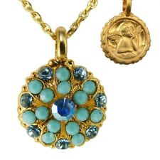 Mariana Guardian Angel Crystal Pendant Gold Necklace Turq Blue 2677
