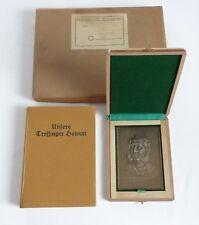 Hohner Bronze Plakette für treue Dienst,Buch,Karte,Trossingen,1948,NOS,OVP!
