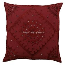 b5ef46734053 Decorative Cotton Cushion Cover 24 x 24 Inch Embroidery Mirror Pillow Covers