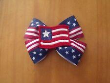 "4th of July 4"" Handmade Grosgrain Hair Bow American Flag, Red, White & Blue USA"