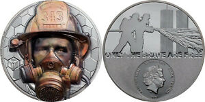 20 Dollar Cook Islands 2021 Black Proof - 3 OZ Real Heroes Fire Fighter 2021