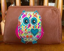 MUDD Angie Collection Zip-Around Wristlet PINK and TURQUOISE  OWL  New!