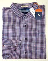 NWT $150 Tommy Bahama LS Blue Purple Plaid Shirt Mens XLT 2XB 2XT 3XB 3XT Cotton