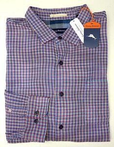 NWT $150 Tommy Bahama LS Blue Purple Plaid Shirt Mens Cotton