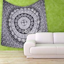 Elephant Tapestry Grey Wall Hanging Ombre Mandala Throw Hippie Beach Sheet