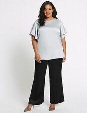 M&S Black Satin High Rise Wide Leg Trousers-Size 28 Reg BNWT