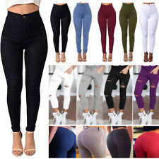 Women's Skinny Pencil Pants Leggings Stretch Ripped Trousers High Waist Casual