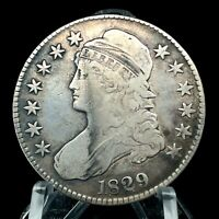 1829 Capped Bust Half Dollar  Lettered Edge Scarce Date Silver US Coin #4