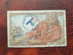 Old banknote from France 20 francs 1943 German Occupation